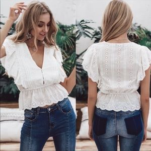 Lace eyelet white ruffle shirt blouse scalloped